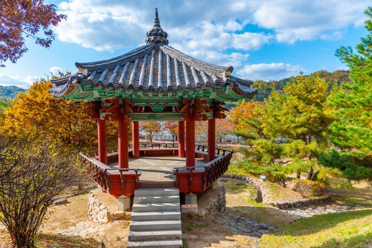 Red pavilion at Andong folk village near Woryeonggyo Bridge in Republic of Korea