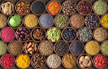 Printed roller blinds Spices Indian spices and herbs background. various condiments, top view