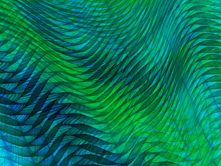 Poster Fractal waves Translucent abstract resembling a draped blue green voile fabric, suitable for background.