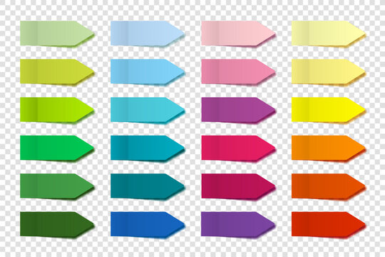 Realistic sticky notes collection. Arrow flag tabs. Post note stickers. Colorful sticky paper sheets. Vector illustration.