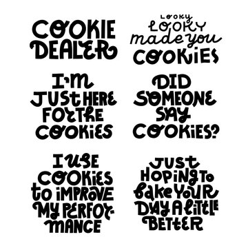 Set of cookie funny quotes