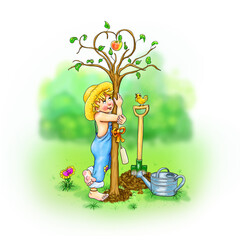 Baumliebe, der kleine Gärtner umarmt barfuß neu gepflanzten Baum, Zweige Krone Herzform, Apfel rotgelb, liebevoll, Junge, Liebe, Hingabe, Gefühle, Emotion, Vogel, Pflanze, Gießkanne, neue Erde, Natur