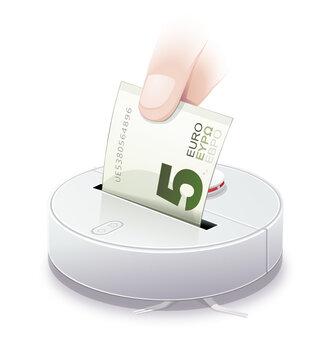 robot aspirateur et investir un billet de 5 euros (Reflet)