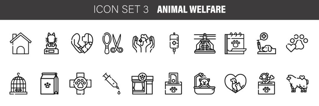 Pet, Animal Welfare outline icons set - Black symbol on white background. Pet, Animal Welfare Simple Illustration Symbol - lined simplicity Sign. Flat