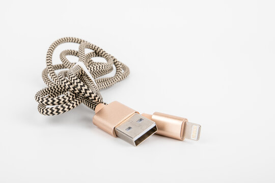 USB to Lightning cable. Phone accessory, charger and data transfer