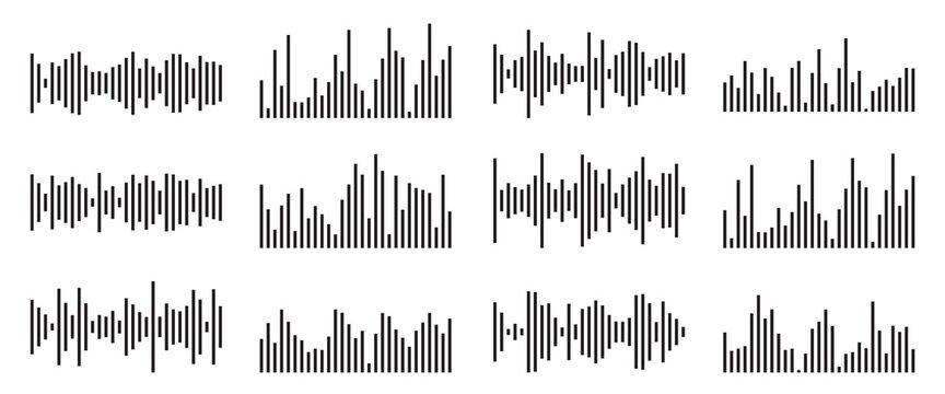 Sound wave collection. Random audio  soundwave line. Black waveform equalizer set