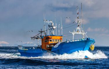 Obraz Fishing boat returns after fishing to its port. Japan. The water area of Hokkaido. Kunashir Strait. Sea of Okhotsk. - fototapety do salonu