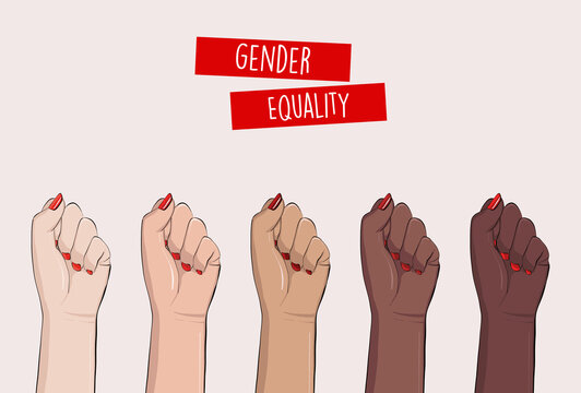 Woman hands clenched fists, feminist protest, support girls. Female power diversity, raised fist strong girl concept international woman day. Anti racism, stop discrimination, xenophobia vector