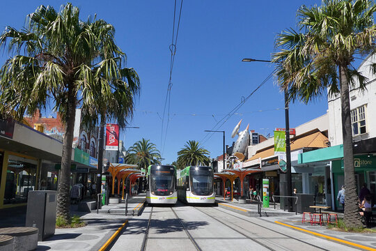 Melbourne, Australia: March 10, 2017: Two C2 Class electric trams have stopped at the Acland Street tram stop in St Kilda alongside the colourful shops and street cafes.