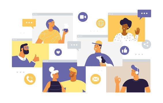 Web windows with different people chatting by videoconference. Smiling men and women work and communicate remotely. Team meeting online. Concept of virtual discussion. Vector in flat style, isolated