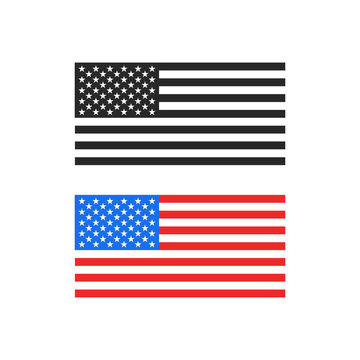 America flag color and black and white print as a symbol of anti-racist protests