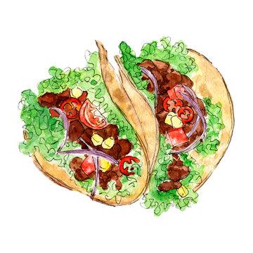 Watercolor mexican tacos