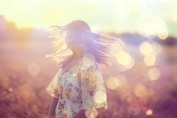 Foto op Plexiglas Zalm field wheat sunset girl, summer landscape, outdoor activity concept abstract freedom woman