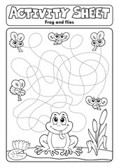 Foto op Canvas Voor kinderen Activity sheet frog theme 2