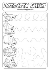 Foto op Canvas Voor kinderen Activity sheet handwriting practise topic 4