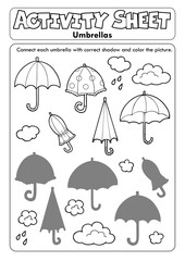 Foto op Canvas Voor kinderen Activity sheet umbrellas 1