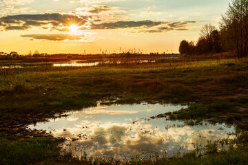 Fotobehang - sunset on the lake and swamps in the forest. Wonderful evening wildlife landscape.