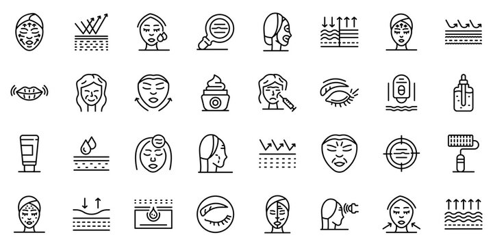 Wrinkles icons set. Outline set of wrinkles vector icons for web design isolated on white background