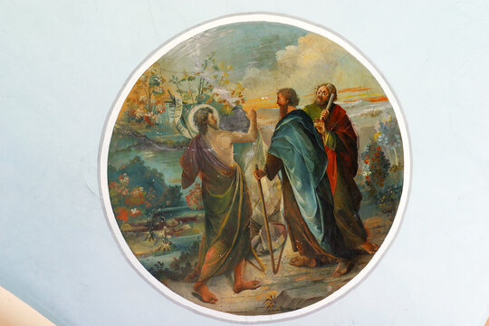 """St. John sends his disciples to Jesus to ask him: """"Are you he who is to come, or we look for another?"""", A fresco in the parish church of St John the Baptist in Sveti Ivan Zelina, Croatia"""