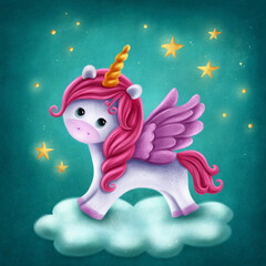 Cute unicorn with wings
