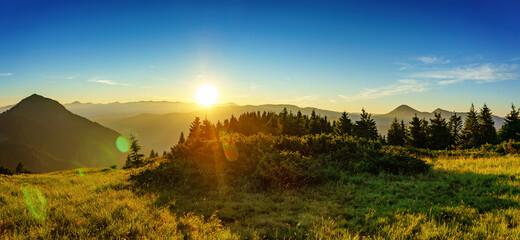Fantastic morning mountain landscape. Colorful overcast sky. Carpathian, Ukraine Fotobehang
