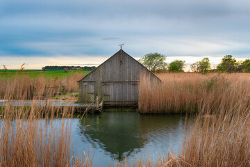 Wall Mural - A boathouse on the river Thurne
