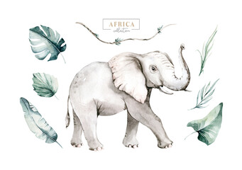 Watercolor African elephant animal isolated on white background. Savannah wildlife cartoon zoo safari poster. Jungle decoration Wall mural