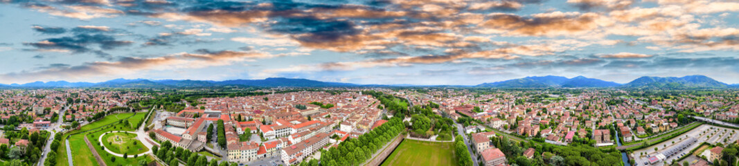 Amazing aerial view of Lucca, famous town of Tuscany