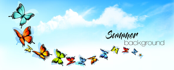 Summer abstract nature background with a colorful butterflies and blue sky with clouds. Vector