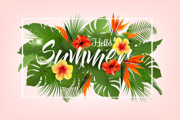 Summer tropical holiday background with exotic palm leaves and colorful tropic flowers. Vector