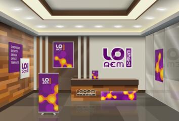 Purple office design with orange molecules. Elements of interior advertising. Corporate identity