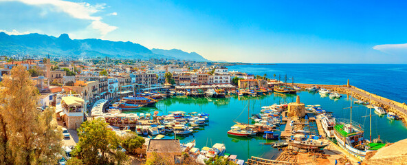 Kyrenia (Girne) old harbour on the northern coast of Cyprus. Panorama.