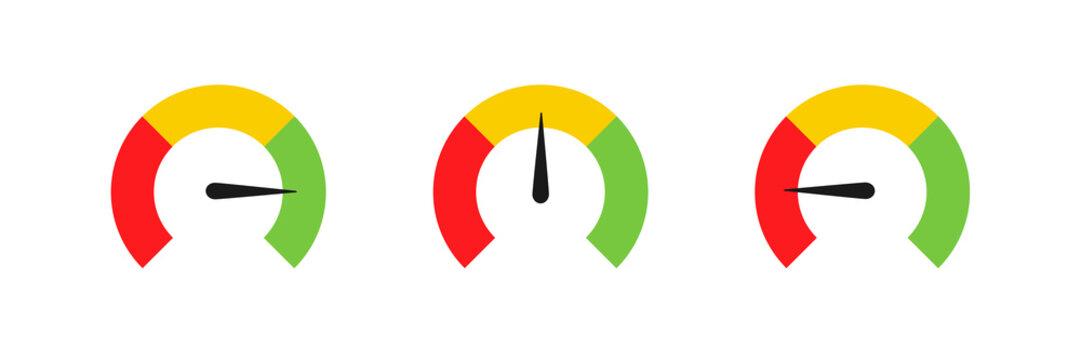 Speedometer set icon color chart. Vector illustration flat