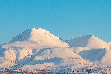 Snow covered palandoken mountains with clear sky
