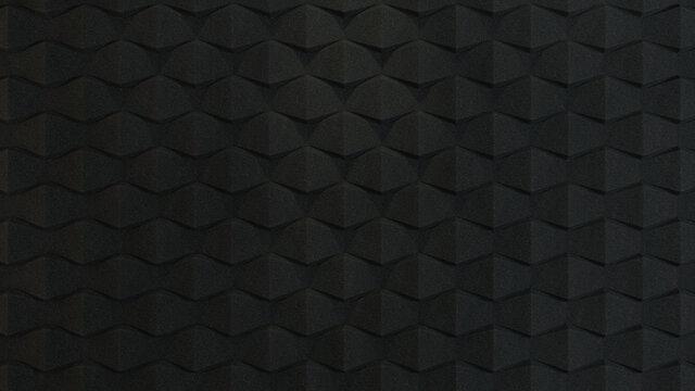 3d rendered black acoustic foam wall