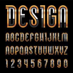 Bright metallic font, trendy alphabet, golden vector letters on a black background.