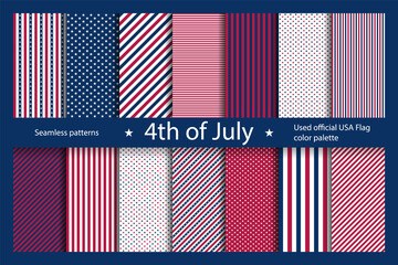 Set USA background with elements of the American flag. Abstract seamless pattern design for Independence day.