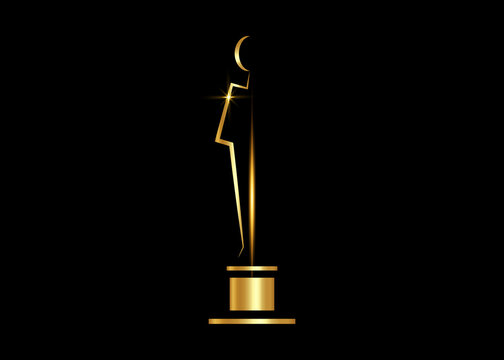 Vector Gold Academy Awards icon isolated on white background