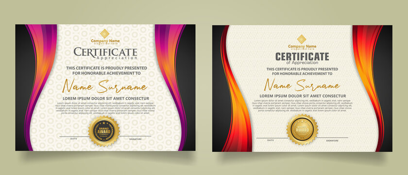 set modern certificate template with flow lines ornament and modern pattern background.
