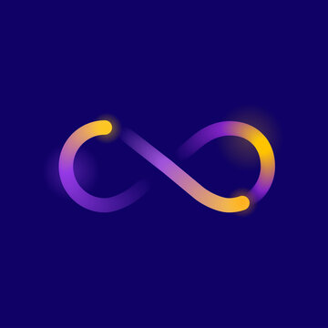 Infinity symbol with motion effect in bright colorful neon decoration on dark background