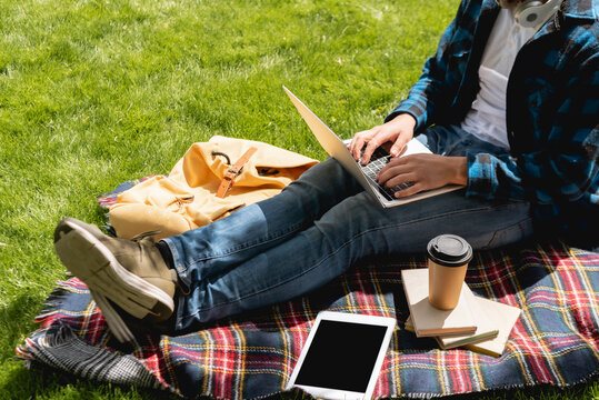 cropped view of student using laptop near digital tablet with blank screen and paper cup on plaid blanket, online study concept