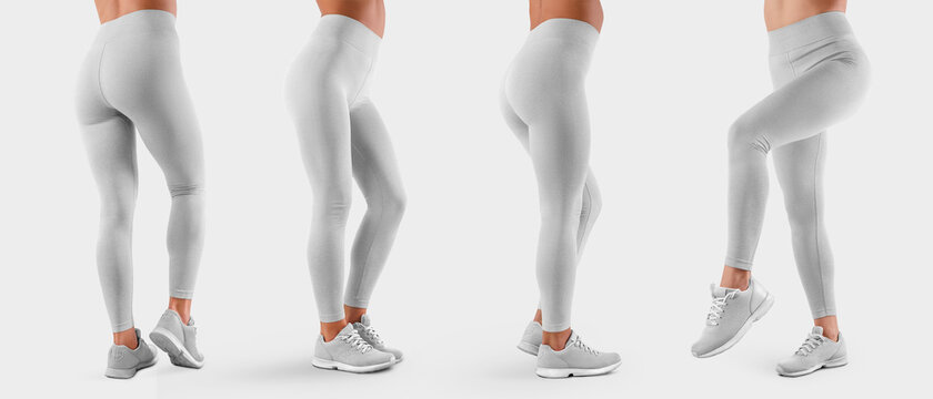 Template of white stretch leggings on a sports girl in sneakers, side view, back view, white tight pants, isolated on background.