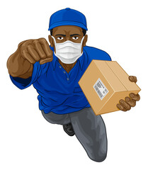 Poster Superheroes A courier delivery superhero man wearing a PPE mask and delivering a package parcel box while flying through the air