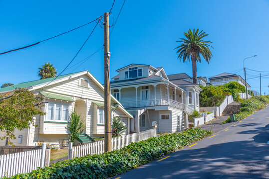 Wooden mansions at the devonport neighborhood of Auckland, New Zealand