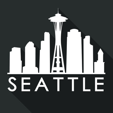 Seattle Flat Icon Skyline Silhouette Design City Vector Art Famous Buildings