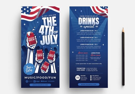 Thin Flyer Layout with 4th of July Party Theme