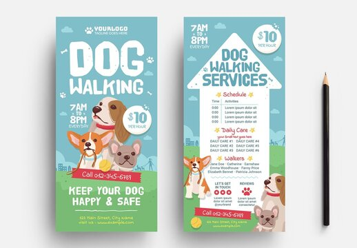 Thin Dog Walking Flyer Layout for Pet Care Services