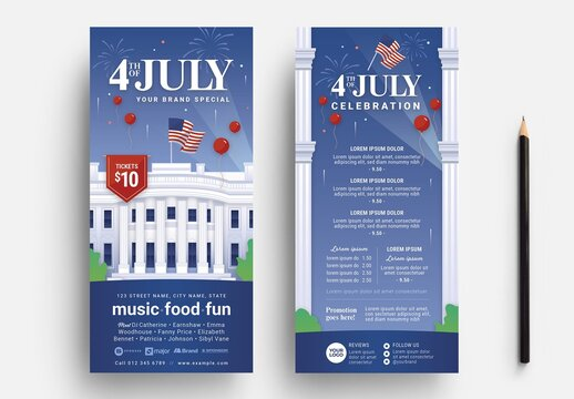 Thin 4th of July Flyer Layout with White House Illustration