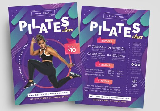 Pilates Gym Flyer Layout for Fitness Classes