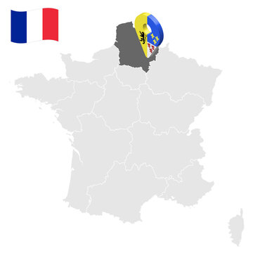 Location of Hauts de France on map France. 3d location sign similar to the flag of Hauts de France. Quality map  with regions of  French Republic for your design. EPS10.
